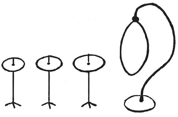 4 cowbells, suspended